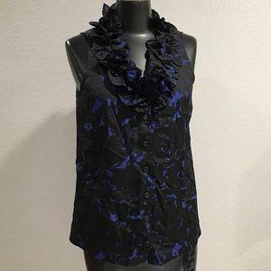 J Crew Silk Sleeveless Blue Black Ruffle Blouse